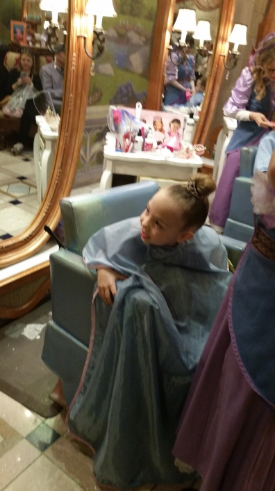 Karen's daughter at Bibbidi Bobbidi Boutique