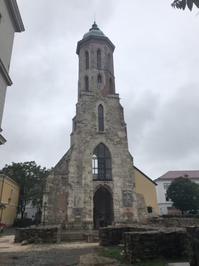 800 year old surviving church tower. The rest of the church was bombed in the war.